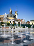 Fountain on the Poshtova Ploshcha (Post Square) in Kyiv. Ukraine stock photos