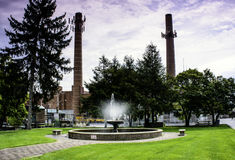 Fountain and Power Plant Royalty Free Stock Images