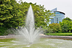 Fountain in public Botanique parc in Brussels Stock Images