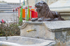 Fountain. Public fountain with the figure of a lion royalty free stock images