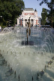 Fountain and public garden in front of the theatre Ivan Vazov. Fountains and public garden in front of the national theatre Ivan Vazov in Sofia, the Bulgarian Stock Photos