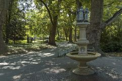 Fountain in public garden of Plovdiv town Stock Photos
