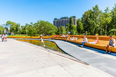 Fountain Puddle in Museon park of Moscow Stock Images