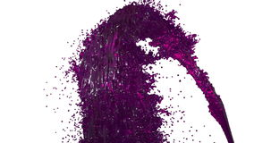 Fountain of purple liquid like juice on white background with alpha matte use it like alpha channel. version 4. Fountain of paint on white background with alpha stock footage