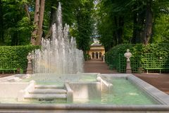 Fountain Pyramid in the Summer garden. SAINT PETERSBURG, RUSSIA - AUGUST 18, 2017:  Fountain Pyramid in the Summer garden. This park is one of the oldest in Royalty Free Stock Image