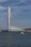 Fountain and Rainbow in Geneva Stock Images