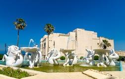 Fountain and Rais Palace in Algiers, Algeria stock photo
