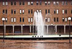 Fountain in Red Square. Outside of Bond Hall at Western Washington University at Bellingham royalty free stock image