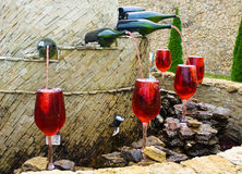 Fountain of red wine. In Milestii Mici, Moldova Royalty Free Stock Image