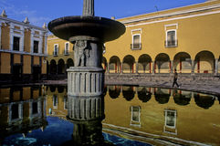 Fountain reflected in Puebla Royalty Free Stock Photography
