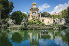 Fountain reflection in Parc de la Ciutadella, Barcelona, Spain Stock Images