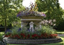 Fountain at Regent`s Park. The beautiful Regent`s Park in London Royalty Free Stock Photography