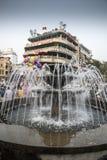 Fountain and restaurants Hanoi royalty free stock photos