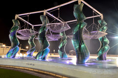 Fountain at Riccione. Fountain made of glass panels at Riccione, Italy stock image