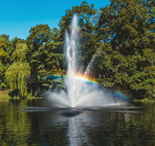 Fountain in Riga Canal Stock Photography