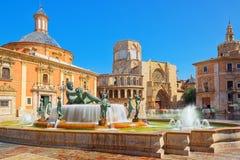 Valencia Fountain Rio Turia on Square of the Virgin Saint Mary, stock image