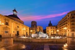 Fountain Rio Turia on Square of the Virgin Saint Mary, Valencia Royalty Free Stock Photo