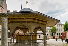 Fountain for ritual ablutions Hagia Sophia in Istanbul, Turkey. Fatih, Istanbul,Turkey – May 01, 2014: Fountain for ritual ablutions, Hagia Sophia royalty free stock images