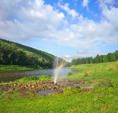 Fountain on the river Ai. Tourist bath on the banks of the river. Chelyabinsk region, Bashkiria Stock Photography