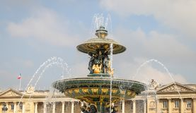 Fountain of River Commerce and Navigation in Place de la Concord. E, Paris City, France Royalty Free Stock Photo