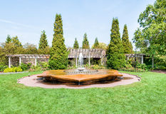 Fountain in the rose garden of Chicago Botanic Garden. Glencoe, Illinois stock photos