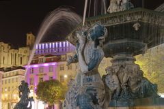 Fountain on Rossio by night Royalty Free Stock Photography