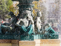 Fountain on the rossio place in lisbon Stock Image
