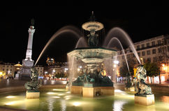 Fountain in Rossio Square Stock Photos