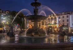 Fountain on the rossio square stock photography