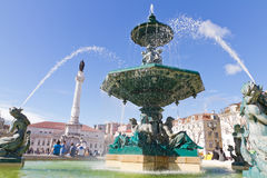 Fountain on Rossio square, Lisbon Stock Photo