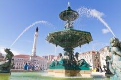 Fountain on Rossio square, Lisbon Stock Photo
