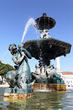 Fountain on rossio square in Lisbon Stock Image