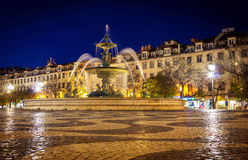 Fountain in Rossio square Lisbon at night time Royalty Free Stock Photography