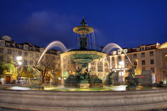 Fountain in Rossio Square, Lisbon, Portugal stock photos