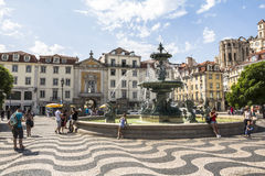 Fountain on rossio square in Lisbon, Portugal Royalty Free Stock Photos