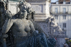 Fountain on Rossio Square Royalty Free Stock Image