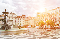 Fountain on Rossio Square in Lisbon, Portugal Stock Photos