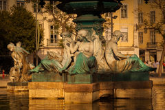 Fountain of Rossio Square, Lisbon Royalty Free Stock Photos