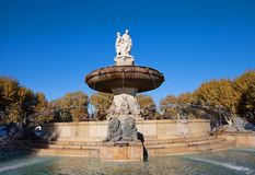 Fountain Rotonde (1860). Aix-en-Provence, France. Fountain Rotonde (Fountain of Three Graces, circa 1860). Architect Theophile de Tournadre. One of the most Stock Images
