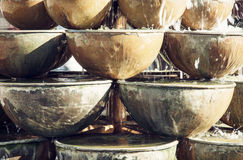 Fountain of round containers Royalty Free Stock Image