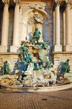 Fountain at the Royal palace in Budapest stock photography