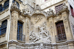 Fountain at Rue du Gros-Horloge (1389). Stock Photos