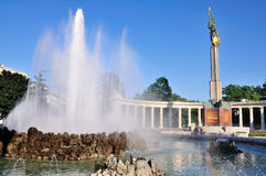Fountain of the Russian Memorial, Vienna. The fountain, column and statue of the controversial Russian Memorial, a monument errected by the Soviet army at the Royalty Free Stock Photo