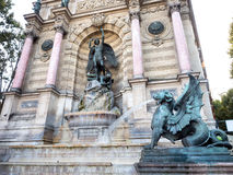 Fountain Saint Michel in Paris, France Stock Images