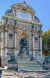 Fountain Saint-Michel, Paris Stock Photography
