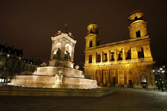 Fountain of Saint Sulpice. (created in 1844) and the church Saint Sulpice, Paris, France Royalty Free Stock Images