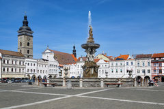 Fountain Samson and Black Tower, Ceske Budejovice Royalty Free Stock Photography