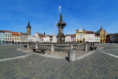 Fountain Samson and Black Tower, Ceske Budejovice Stock Photo