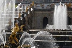 Fountain Samson in Peterhof. Stock Photos