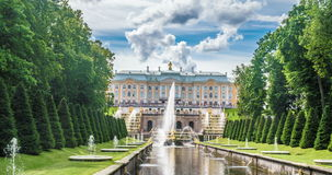Fountain Samson and Royal Petrodvorets. Petergof, Saint Petersburg, Russia time lapse stock video footage
